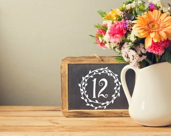 Rustic Wreath Table Number Decal, Reception Decor, DIY Table Numbers, Vintage Wedding Vinyl, Romantic Number Sticker,Centerpiece Decal