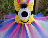 Minion Tutu Dress - Girls Minion Party Tutu Dress - Hot Pink, Blue and Yellow Tutu Dress - Minion Costume - Size 6 month - Girls 12