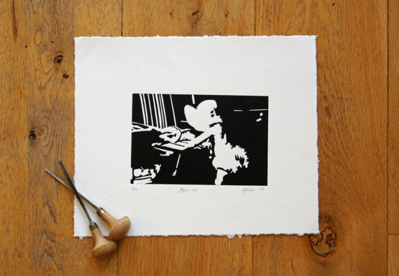 New baby gift art print Baby bonnet linocut print with vintage retro frilly nappy cover, black and white art