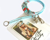 Lanyard, Turquoise silver and red, Beaded ID holder, badge holder, key chain, fashion lanyard, Handmade, Boho