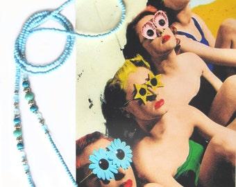Eyewear holder, Turquoise blue jade and silver, Eyeglass beaded holder, handmade, sunglasses, reading glasses, eye glass jewelry, Boho