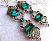 Art Deco Earrings Art Nouveau Earrings Gothic Earrings Emerald Earrings 1920s Earrings Filigree Earrings Victorian Green Earrings- Luxurious