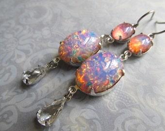 Fire Opal Earrings Opal Jewelry Silver Opal Earrings Pink Opal Earrings Art Deco Earrings Sterling Earrings 1920s Earrings- Opalescence