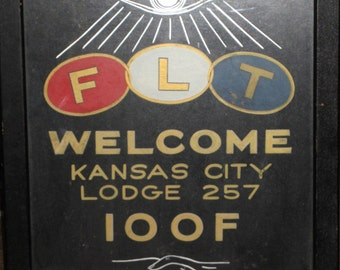 Vintage hand painted Odd Fellows Welcome sign for Kansas City