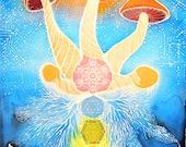 24x36 POSTER of Teonanacatl Flesh of the Gods Batik Tapestry - Sacred Geometry - Mushroom - Chakra - Flower of Life - Crystals