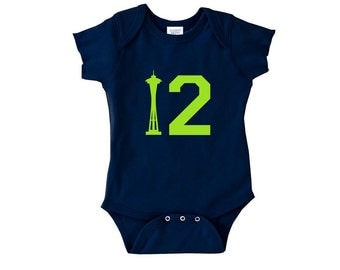 12th Man Baby Bodysuit, Football One Piece, Baby Football Bodysuit, Football Baby, Seahawks Baby, twelfth man, twelfth baby, Seattle Baby