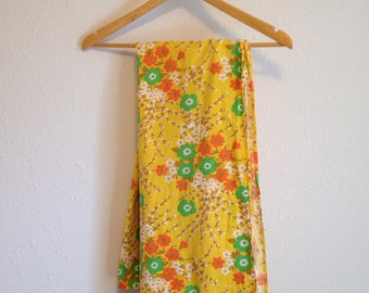 Vintage Tablecloth, Yellow Orange and Green Floral Fabric