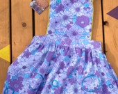 Girls Pinafore Dress in Vintage Purple floral Fabric. With Blue Glitter hoops pattern. Handmade in U.K. Introductory price!