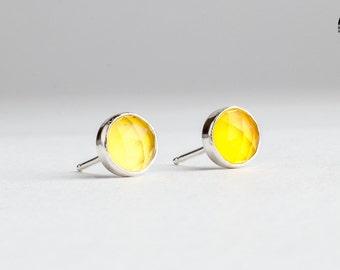 Lemon Yellow Chalcedony gemstone post stud earrings in Sterling Silver - Sunny Yellow earrings - Lemon gemstone earrings - Gift for her