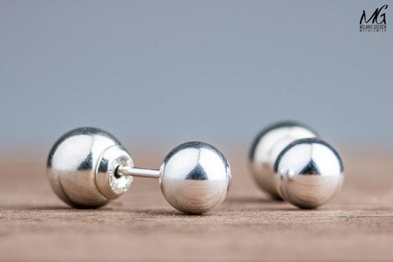 Double Sided Earrings - Silver Front Back Earrings - Solid Sterling Silver ball earrings - Double sided ball earrings - Ear Jackets