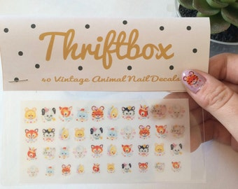 Vintage Cute Animal Nail Decals - pk40
