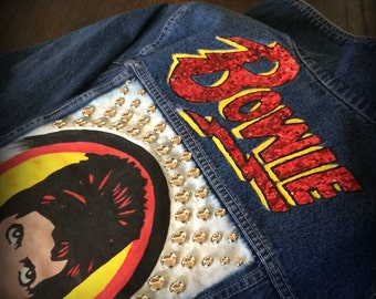 David Bowie *HAND PAINTED* Custom Studded Denim Jacket Tribute