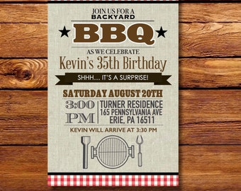 Backyard BBQ Birthday Party Invitation/ Summer Bash Party Invitation/ Memorial Day Party/ Labor Day Party/ July 4th Party
