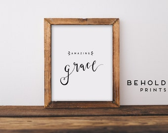 Amazing Grace, Scripture Wall Art, Dorm wall art, Bible Verse Wall Art, Scripture Prints, Bible Verse Print, Amazing Grace Print, Grace