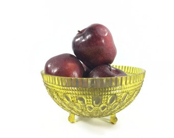 Vintage Ornate Plastic Yellow Serving Bowl, Regaline, Jewel Tone Yellow Footed Bowl, Yellow Wedding Dishes, Candy Buffet, Catchall Dish