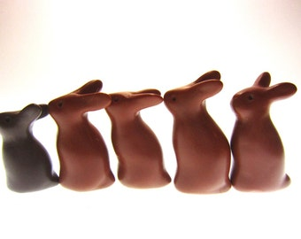 DaChocolateBunz bunnies rabbits family brown OOAK hand made polymer clay decoration