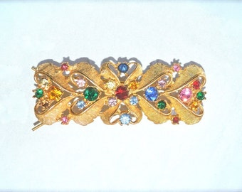 Sparkly Hair Barrette Multi Colored Sparkly Stones 1980s