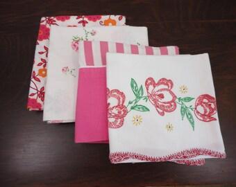 Vintage Pillowcase Set of Four - Bright Pink Red Green Floral, Stripe, Digital Floral - Mismatched