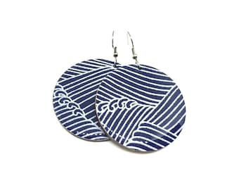 Indigo Chiyogami Paper Earrings, Wave Pattern, Aizome, Chiyogami, Japanese Paper, Large Dangles, Laser cut, Resin coated, Pattern varies