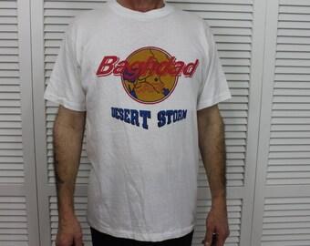 Vintage Desert Storm Bagdad Cafe T Shirt Size SL New Old Stock
