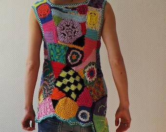 Freeform crochet tunic - multicolor patchwork art crochet top vest - ready to ship - size S-M