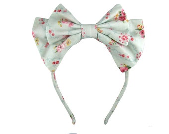 Lolita bow headbow light blue floral print fabric