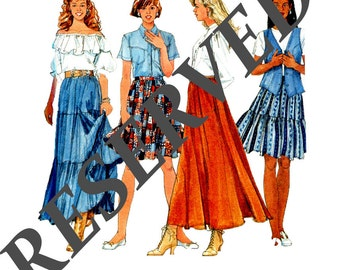 RESERVED Plus Size Peasant Skirt Sewing Pattern Tiered Skirt Sizes 20 22 24 Boho Style Simplicity 7520  Uncut Factory Folded