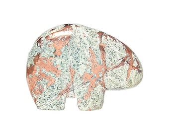 Campbellite Native Copper in Rock Matrix Semiprecious Gem Stone Bear Fetish Gemstone Carving Polished Red Metal Statue Native American Motif