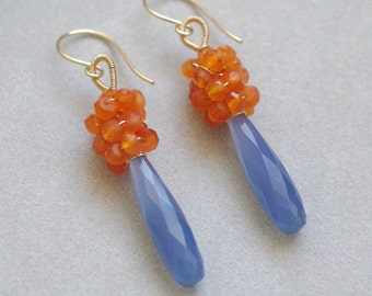 Dangle earrings with Blue chalcedony, Carnelian, 14K gold filled. H005.