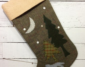 Personalized Christmas Stocking, Rustic Christmas Stocking, Cabin Stocking, Wolf Stocking, Family Christmas Stocking, Christmas Decorations