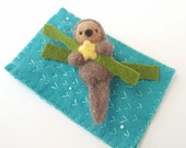Needle Felted Sea Otter with Starfish Kelp and Ocean Rug