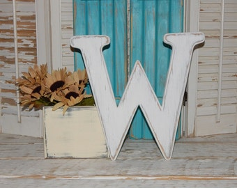 Wooden Letter W Distressed Wood letters Any Letter Made To order Photo Props