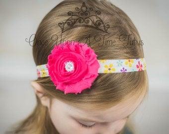 Hot Pink Shabby Rosette Flower Rainbow Daisy Headband - Photo Prop Hairbow - Modern Trendy Hair Bow - Newborn Baby Toddler Girl Accessory