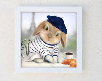 Framed Print, Bunny Rabbit Nursery Art, French Rabbit, Paris Decor