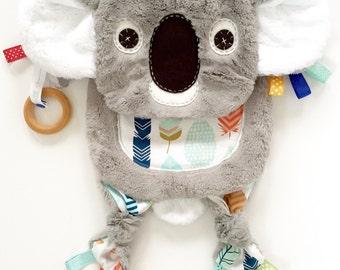 Koala baby lovey blanket organic ring teething toy friend
