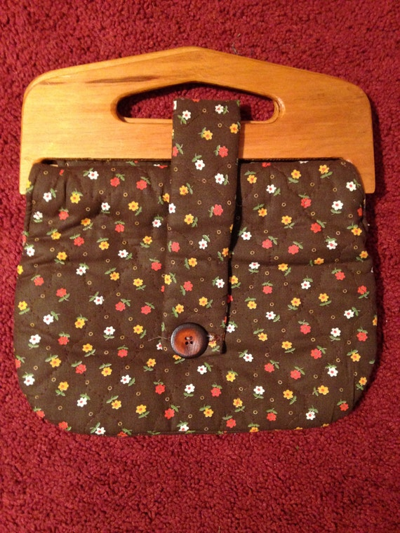 Vintage Handmade Small Brown Floral Quilted Handbag Wooden Handles 1970s Sale