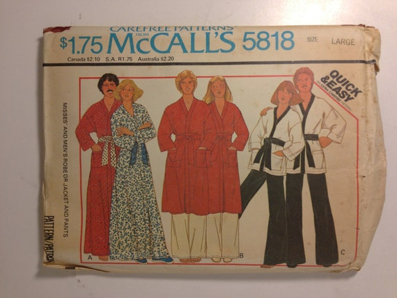 McCalls Sewing Pattern 5818 70s Misses and Mens Robe or Jacket and Pants Size Large Chest 40-42 Uncut