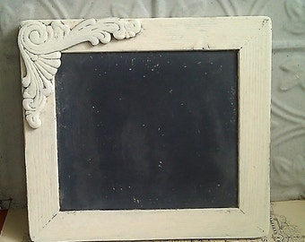 Upcycled Vintage Wood Frame, Small Chalkboard, Ornate Wood Applique