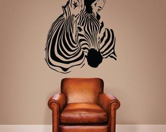 Zebra Wall decal, Zebra Stripe Decal, Zebra Decor, Zebra Art, Zebra Bust Decal, Zebra Stripes, Jungle Decor - WD0111