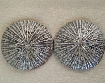 Sunburst silver tone vintage metal buckle