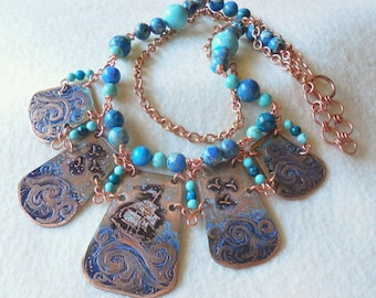 Hand Forged Copper Etched Nautical Ocean Scene Bib Collar Necklace