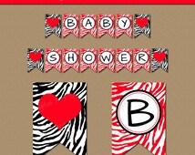 Red & Black Baby Shower Banner - EDITABLE Baby Shower Party Decor - Printable Valentines Banner - Zebra Banner - Birthday Banner Download
