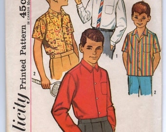 "1960's Simplicity Boy's Button-Up Shirt Pattern - Breast 26"" - No. 4964"