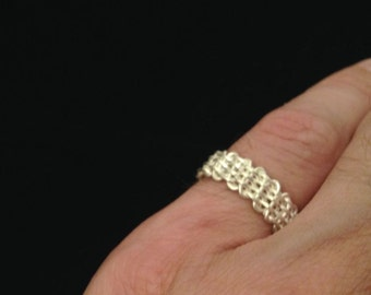 Vintage Woven Sterling Silver size 5.75 BAND RING men women NOS Basket Weave Pattern
