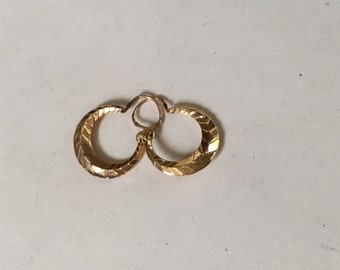 Small Antique French Art Deco faceted Creole Hoop Earrings, 18K Gold