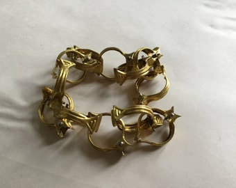 Vintage French Metal Curtain Clip Rings, Gold Tone clawfoot clips, Art Deco