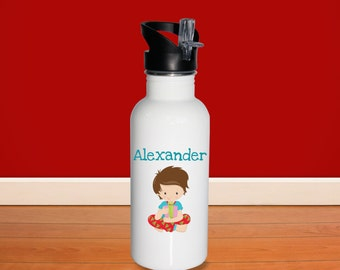 Christmas Kids Water Bottle - Christmas Morning Boy Gift with Name, Child Personalized Stainless Steel Bottle BPA Free Back to School