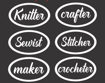 Crafty Car Decals, Laptop Decal, Vinyl Stickers for your car or window. Knitting Decals, Crochet Decals, Hobby Stickers