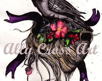"""Fine Art Print """"Crow Hair"""" Painting by Ally Cross"""