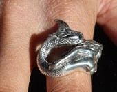 LARGE MERMAID RING, Siren Ring, Mermaid Jewelry, Sizes 6-7.5 .925 Sterling Silver